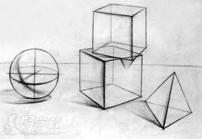 它以石膏几何体锻炼观察和表达物象的形体,结构及明暗关系为目的,是