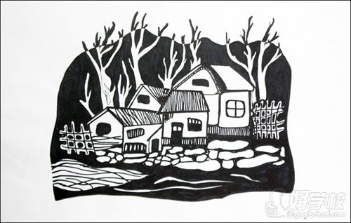 学校风景黑白版画